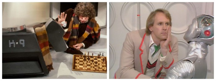 The Doctor (Tom Baker and Peter Davison) plays chess with his best friend K9, and is just rapt by Kamelion's scintillating conversation (c) BBC Studios