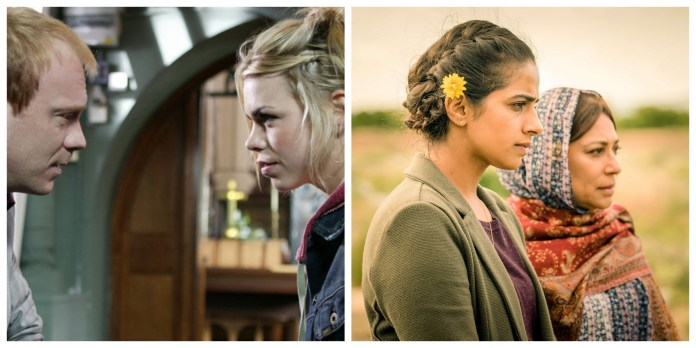 Rose (Billie Piper) meets her father Pete (Shaun Dingwall), and Yaz (Mandip Gill) meets her great-grandmother Hasna (Shaheen Kahn) (c) BBC Studios