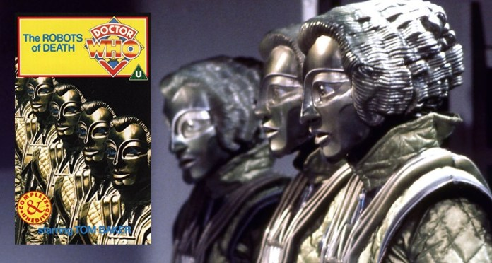 The Voc robots from Robots of Death and the VHS cover that made it an instant purchase for Peter (c) BBC Studios