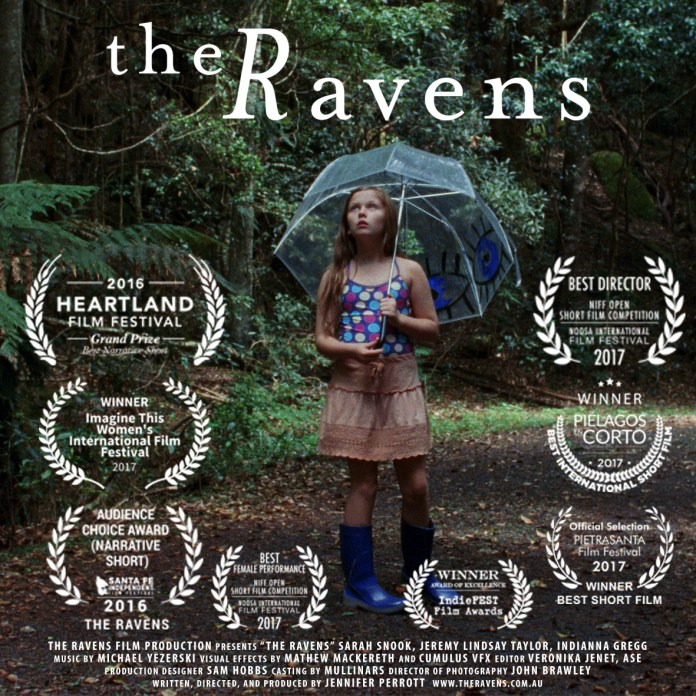 The poster for 2016's The Ravens, which Perrott wrote and directed, indicating how awards laded and critically well received it was (c) The Ravens Film Production