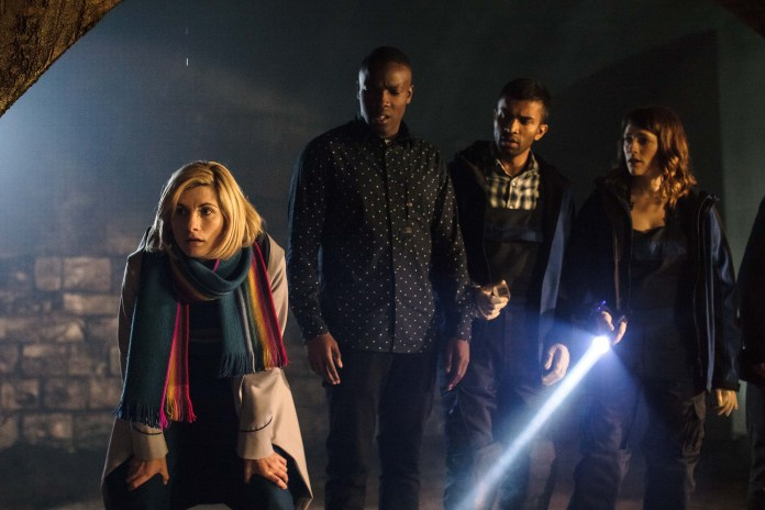 Doctor Who - Resolution - The Doctor (JODIE WHITTAKER), Ryan (TOSIN COLE), Mitch (NIKESH PATEL), Lin (CHARLOTTE RITCHIE) - (C) BBC / BBC Studios - Photographer: Sophie Mutevelian