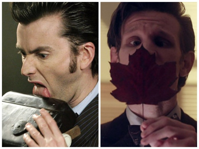 The Doctor (David Tennant and Matt Smith) shows off his ability to learn a lot from things by how they taste (c) BBC Studios