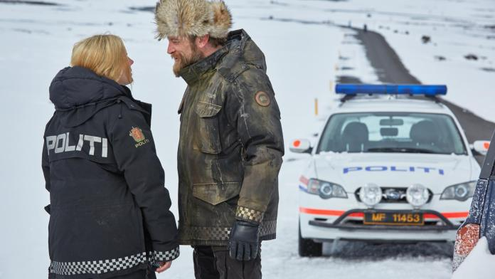 Alexandra Moen as PC Petra Bergen and Richard Dormer as Sheriff Dan Andersson in Fortitude (c) Fifth Fathoms