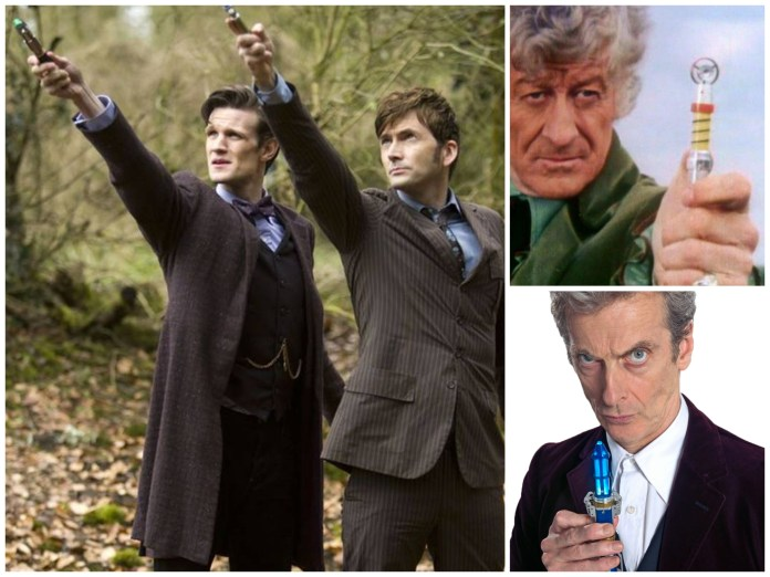 The Doctor (Matt Smith, David Tennant, Jon Pertwee and Peter Capaldi) is a dab hand and reversing the polarity, usually with the aid of his sonic screwdriver (c) BBC Studios