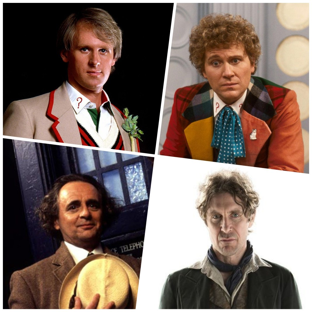 Doctor Who stars Peter Davison, Colin Baker, Sylvester McCoy and Paul McGann - all attending Science of the Time Lords 2019 (c) BBC Studios