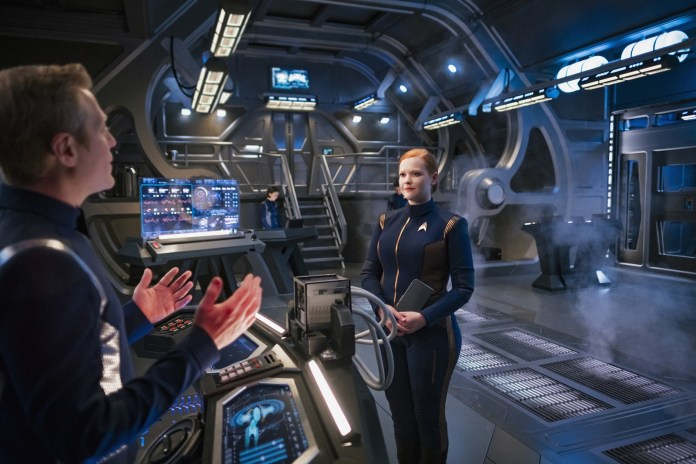 As is so often the case with Discovery, when the big brave heroes get themselves stuck, it's up to Tilly (Mary Wiseman) and Stamets (Anthony Rap) to save the day with the power of math. Photo Cr: Jan Thijs/CBS ©2018 CBS Interactive, Inc. All Rights Reserved.