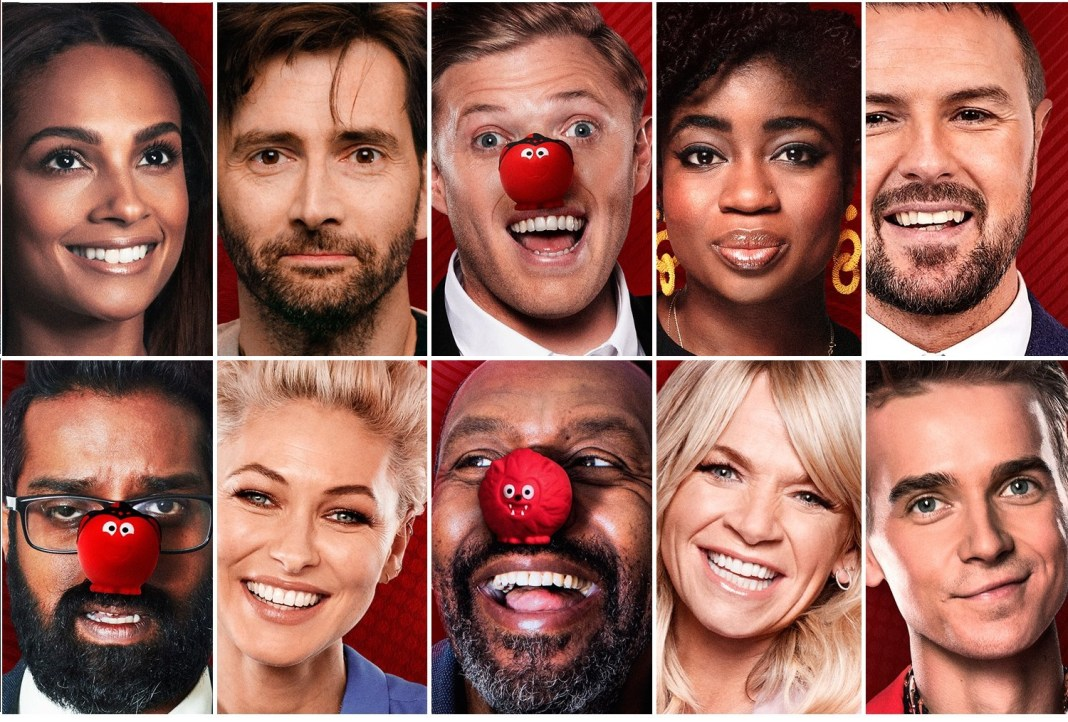 The presenting team for Red Nose Day 2019, including David Tennant (c) Comic Relief