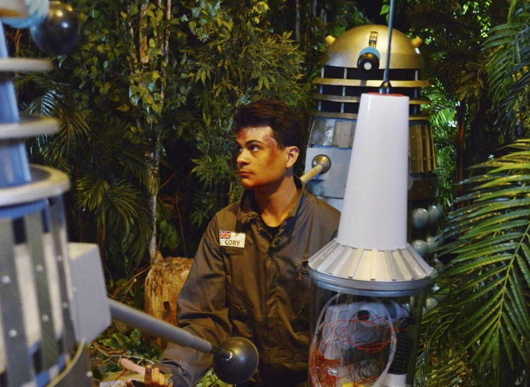 Space Security Agent Marc Cory (Marco Simioni) desperately tries to warn Earth about impending Dalek invasion in Mission to the Unknown