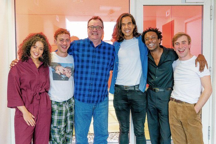 Lydia West (Jill Baxter), Olly Alexander (Ritchie Tozer), Russell T Davies, Nathaniel Curtis (Ash), Omari Douglas (Roscoe Babatunde), and Callum Scott Howells (Colin Morris-Jones) at the Boys readthrough (c) Channel 4