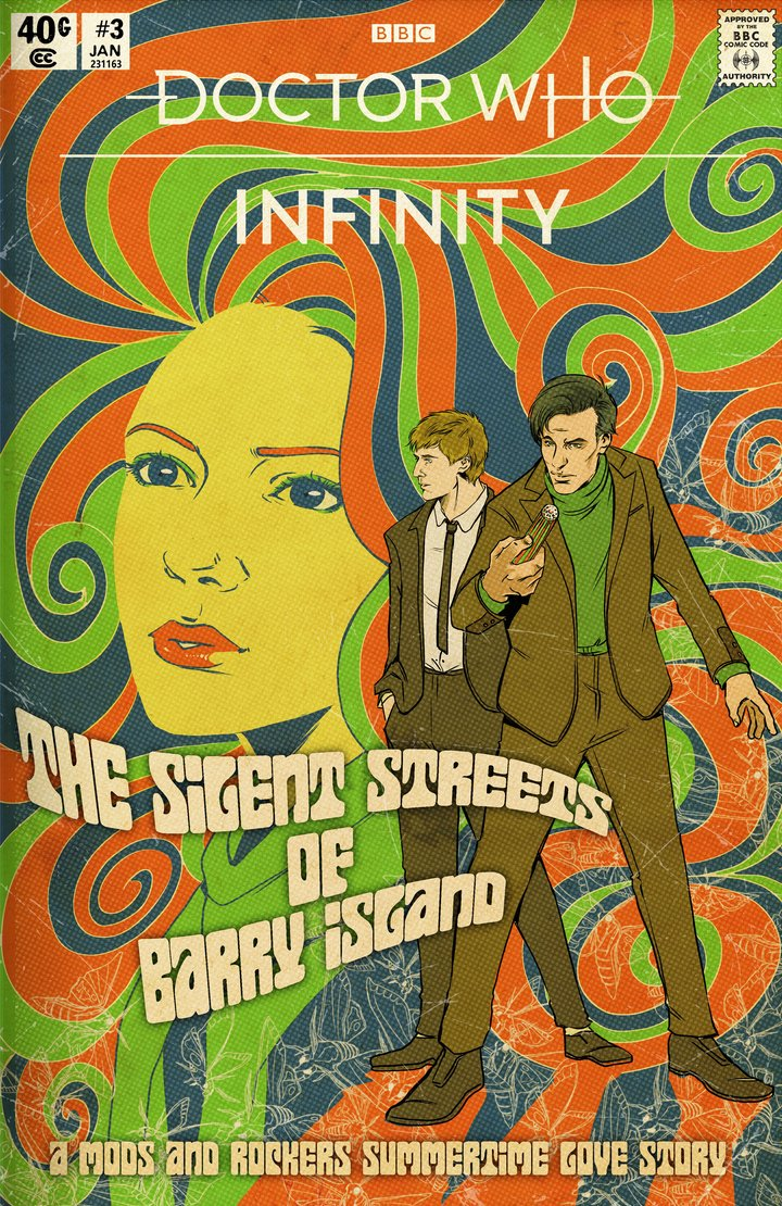 Doctor Who: Infinity - The Silent Streets of Barry Island. Cover by Emma Viceli (c) TinyRebel Games