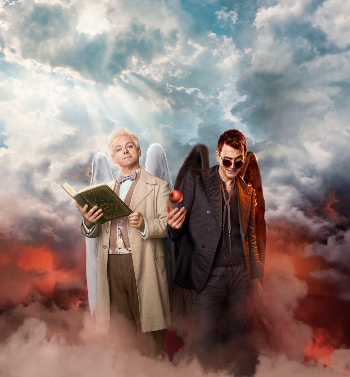 Good Omens - Crowley (DAVID TENNANT), Aziraphale (MICHAEL SHEEN) - (C) BBC/Amazon - Photographer: Steve Schofield