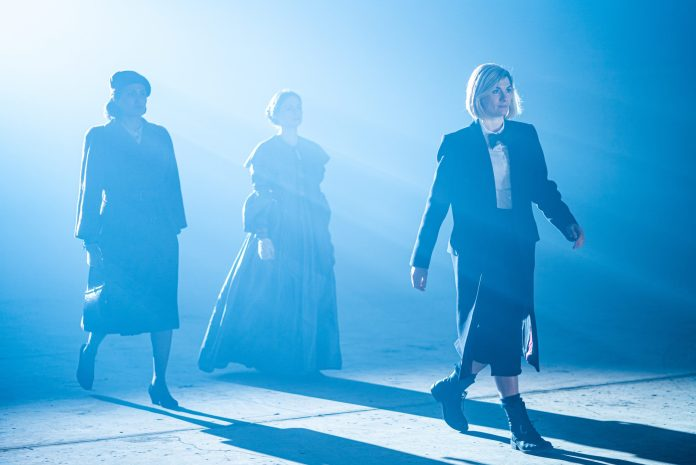 Auror Marion as Noor Inayat Khan, Sylvie Briggs as Ada Lovelace, Jodie Whittaker as The Doctor - Doctor Who Series 12: Spyfall Part Two - Photo Credit: James Pardon/BBC Studios/BBC America