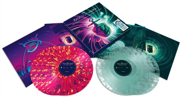 The vinyl records and discs for the Amazon Exclusive edition of Doctor Who: The Paradise of Death/The Ghosts of N-Space (c) Demon Records