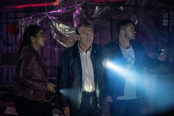Doctor Who - S12, E06 - Praxeus - Mandip Gill as Yaz, Bradley Walsh as Graham, Warren Brown as Jake Willis - - Photo Credit: James Pardon/BBC Studios/BBC America