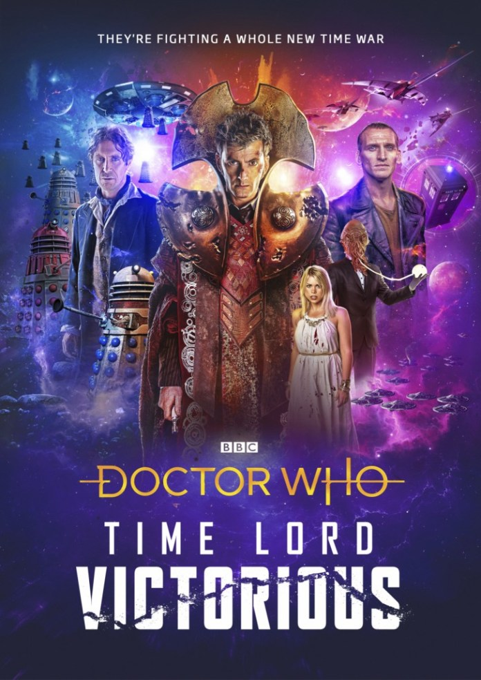 The iconic art for Doctor Who: Time Lord Victorious as whole (c) BBC Studios Lee Binding Tenth Doctor Ninth Doctor Eighth Doctor