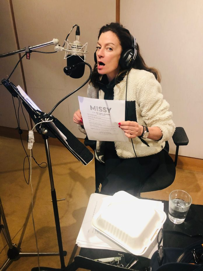 Michelle Gomez recording Missy Series Two (c) Big Finish Productions