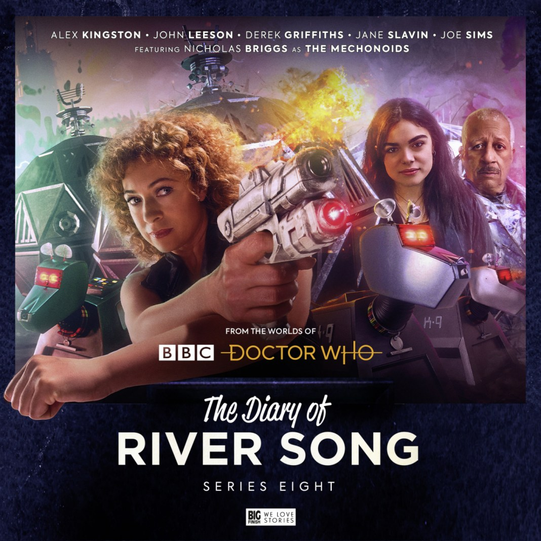 The Diary of River Song: Series 8. Cover by Tom Webster. (c) Big Finish Productions Alex Kingston Salome Haertel K9 Mechanoid Mechonoid