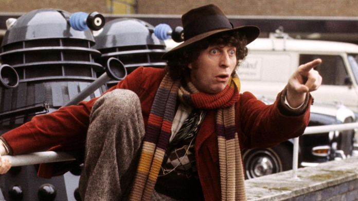 Tom Baker in a publicity photoshoot for Genesis of the Daleks (c) BBC Studios