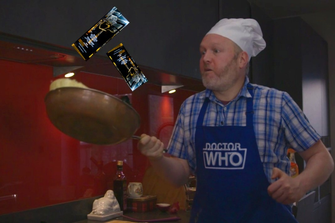 Toby Hadoke in The Doctor Who Cookbook Revisited - now with added RTS Awards! (c) BBC Studios Doctor Who The Collection Season 23