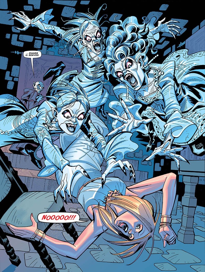 Rose Tyler faces the Three Mad Sisters in Time Lord Victorious: Monsterous Beauty. Art by John Ross. Part Two (c) Panini Doctor Who Doctor Who Magazine DWM Great Vampires