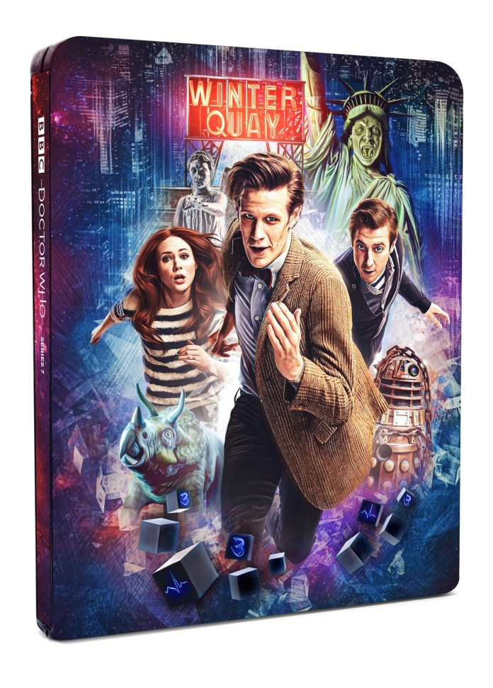 Doctor Who: The Complete Seventh Series Steelbook. Cover art by Sophie Cowdrey (c) BBC Studios Doctor Who Series 7 Eleventh Doctor Amy Pond Rory Williams River Song Matt Smith Karen Gillan