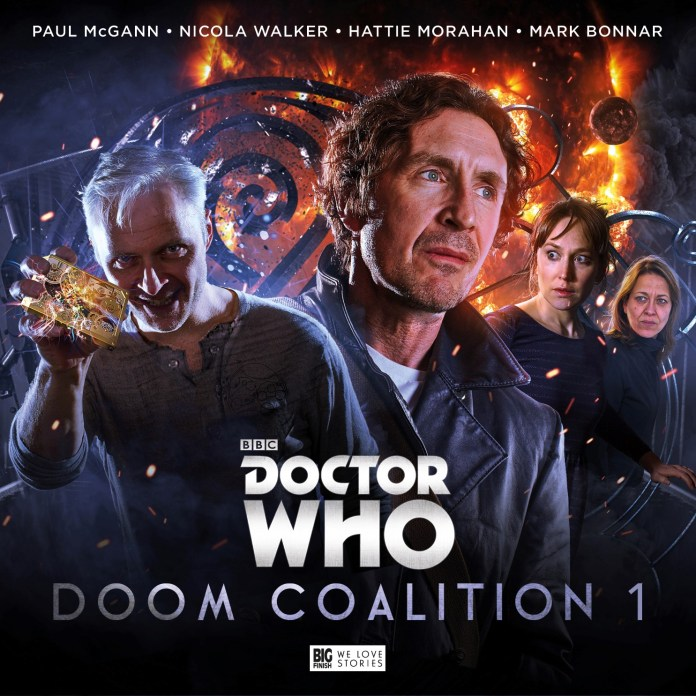 Doctor Who: Doom Coalition 1. Cover by Tom Webster (c) Big Finish Productions Eighth Doctor The Eleven Paul McGann Mark Bonnar Liv Chenka Nicola Walker