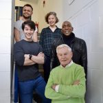 Big Finish – The War Master: Heart of Darkness – Sam Hallion (Kriket) front, George Fletcher (Grondak) back, Julia Sandiford (Ilya), Colin McFarlane (Morski) and Derek Jacobi (The Master)