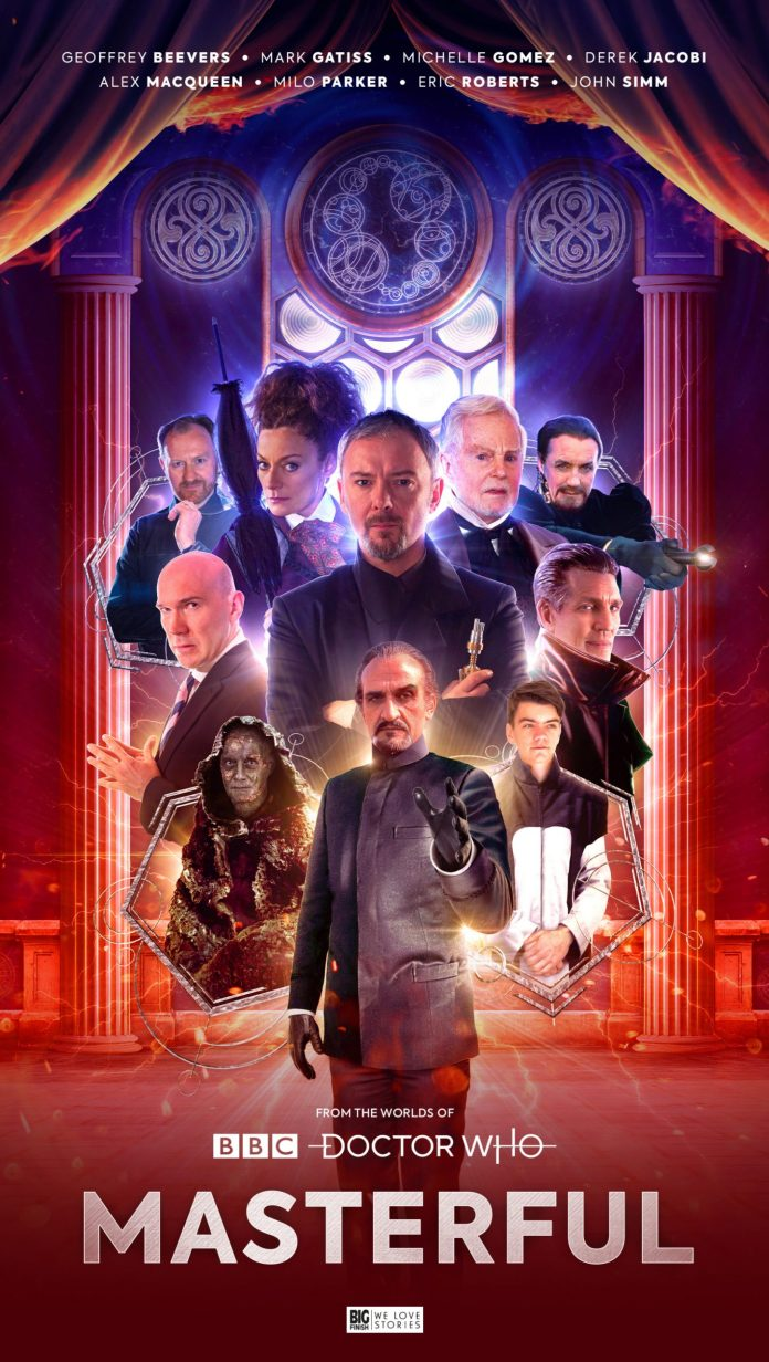 The limited edition of Masterful. Cover by Ryan Aplin (c) Big Finish Productions Doctor Who The Master John Simm Michelle Gomez Derek Jacobi Eric Roberts Geoffrey Beevers Alex Macqueen Mark Gatiss Milo Parker
