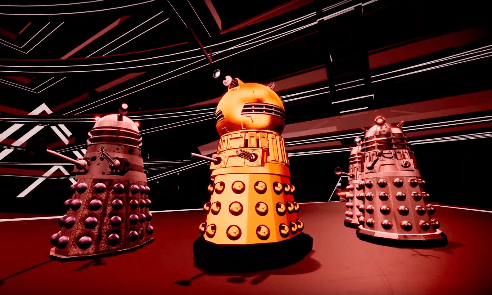 The Dalek Emperor issues his ultimatum to the Archive of Islos (c) BBC Studios Daleks Doctor Who Time Lord Victorious