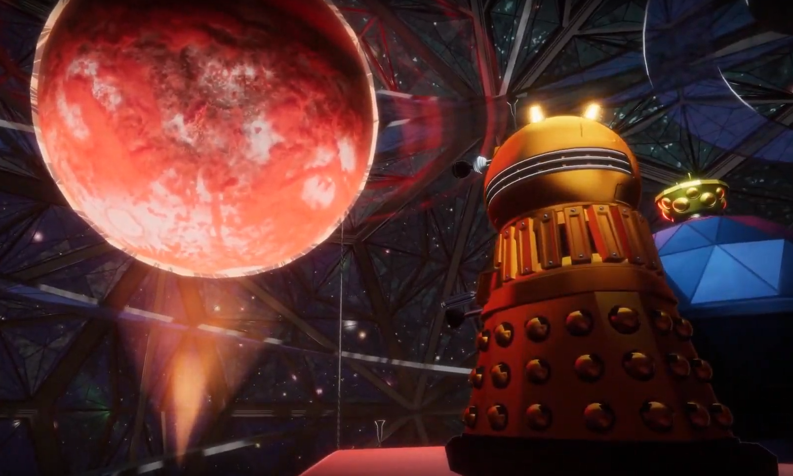 The Dalek Golden Emperor attempts to negotiate an alliance with the Queen of Mechanus in Planet of the Mechanoids (c) BBC Studios DALEKS! Doctor Who Time Lord Victorious