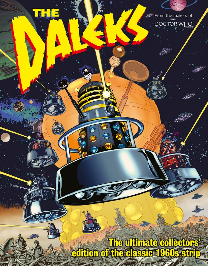 The Daleks bookazine from Doctor Who Magazine. Cover by Mike Collins. (c) Panini TV Century 21 Golden Emperor Dalek Emperor