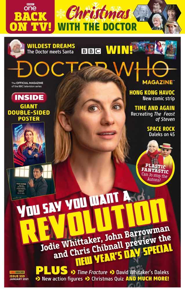 The cover to Doctor Who Magazine 559 (c) Panini Thirteenth Doctor Jodie Whittaker Revolution of the Daleks Captain Jack Harkness Jo Grant Autons Feast of Steven John Barrowman