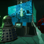 High above Mechanus, the Dalek Strategist and Mechanoid 2150 race against time to stop the Entity (c) BBC Studios Time Lord Victorious DALEKS! The Deadly Ally