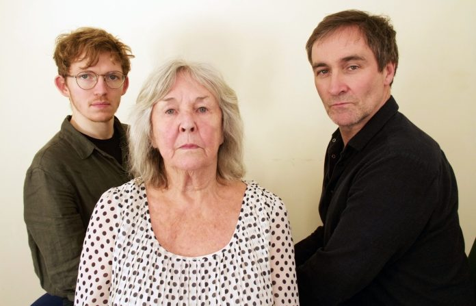 Jonathan Braydon ,Rowena Cooper, and Derek Riddell at the recording of The Crown (c) Big Finish Productions Torchwood Doctor Who Queen Victoria
