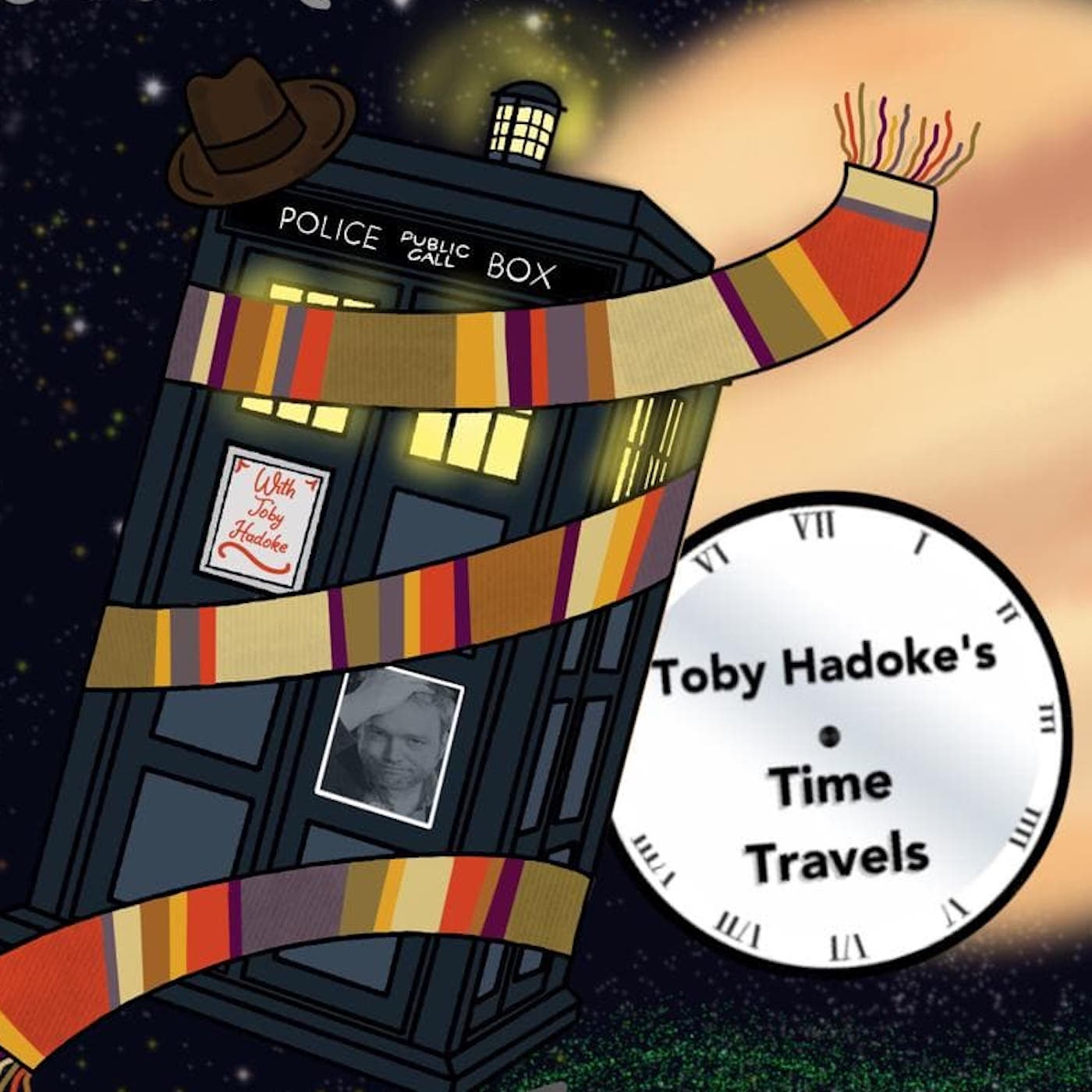 Toby Hadoke's Time Travels (c) Toby Hadoke Doctor Who podcast scarf tardis