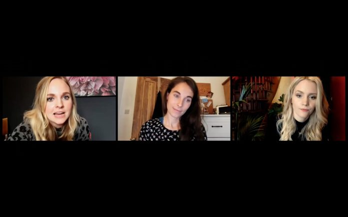 Georgia, Lucy and Anna in Staged Season 2 - (C) Staged Films Ltd Georgia Tennant Lucy Eaton Anna Lundberg lockdown