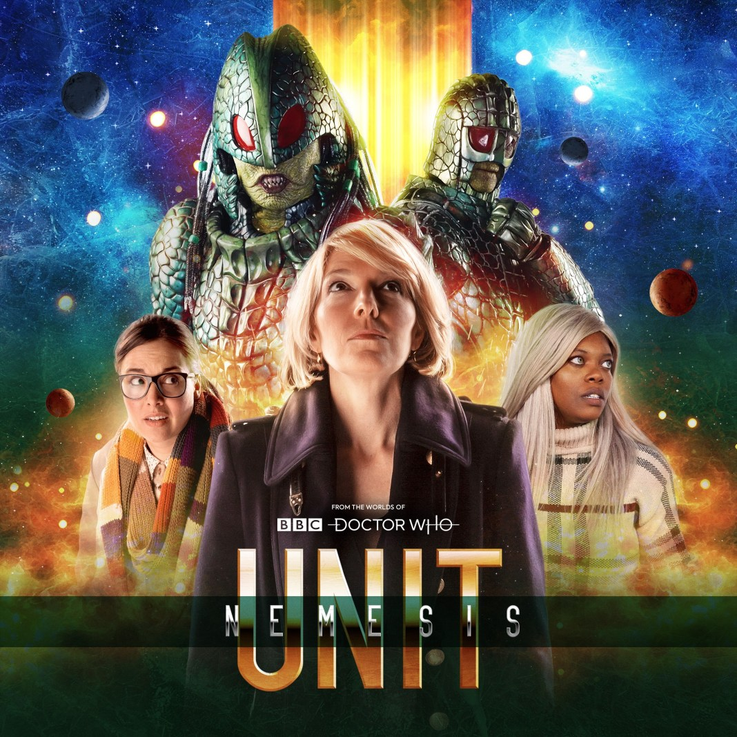 Promotion art for UNIT: Nemesis (c) Big Finish Productions Doctor Who Ice Warriors Osgood Naomi Cross Eleanor Crooks Ingrid Oliver Jemma Redgrave