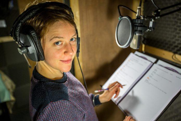Gemma Whelan during recording of Doctor Who: Dalek Universe (c) Big Finish Productions