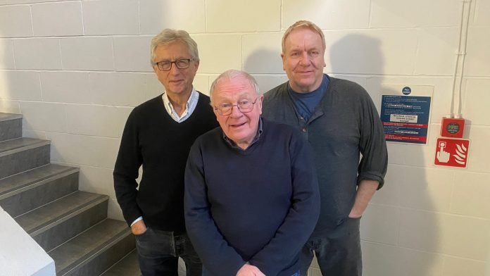 Jeremy Clyde, David Shaw Parker, and Clive Wood at the recording of Stranded 2 (c) Big Finish Productions