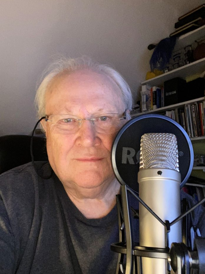 Colin Baker recording for Big Finish at home during the pandemic lockdown (c) Big Finish Doctor Who Sixth Doctor