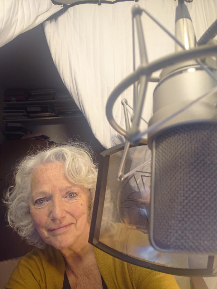 Louise Jameson recording The Omega Factor (c) Big Finish Productions