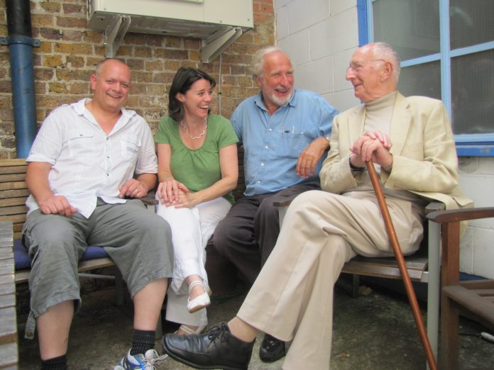 Duncan Wisbey, Lisa Bowerman, Christopher Benjamin, and the late Trevor Baxter recording Jago & Litefoot Series 5 (March 2013) (c) Big Finish Doctor Who