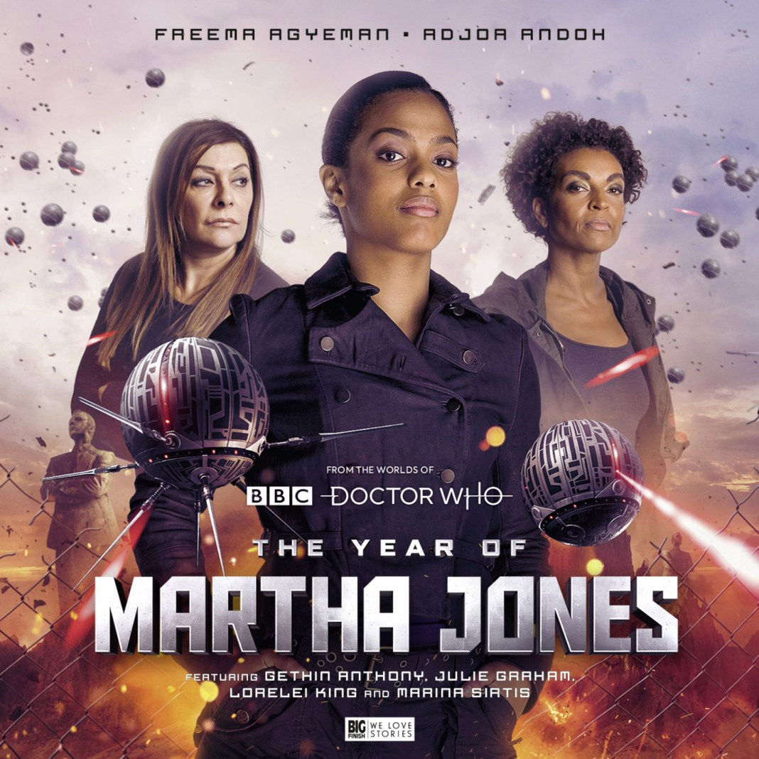 The Year of Martha Jones.Cover by Simon Holub (c) Big Finish Productions Doctor Who Star Trek the Next Generation Freema Agyeman Marina Sirtis Adjoa Andoh The Sound of Drums Last of the Time Lords Toclafane