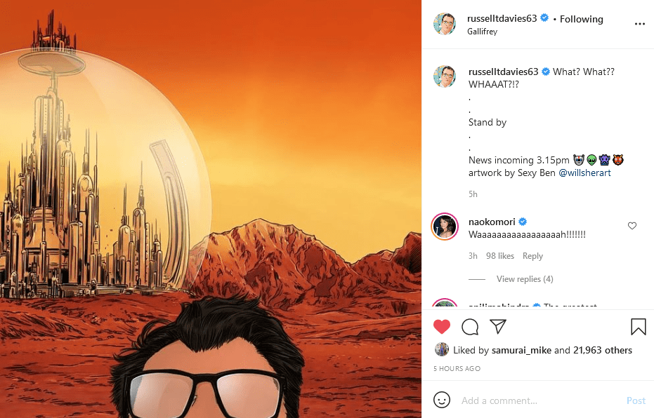 Russell T Davies' Instagram post teasing the news of his return. Art by Ben Willsher Doctor Who