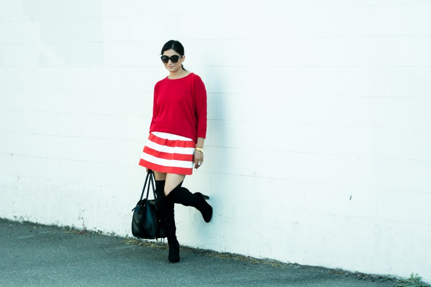 Red striped skirt with red sweater