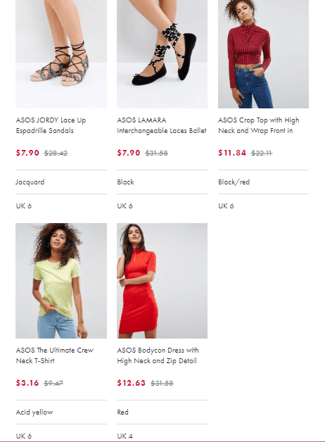 ASOS products