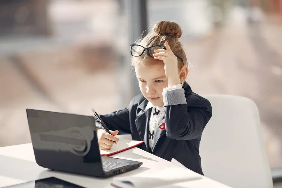 Girl learning with a laptop