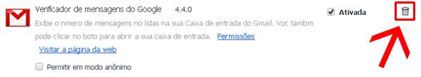 Google Chrome remover extensões
