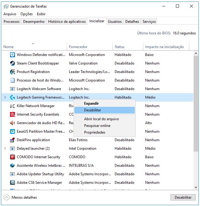 desativar programas que iniciam com o windows