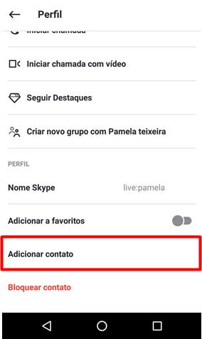 Adicionar pessoas conta Skype Android